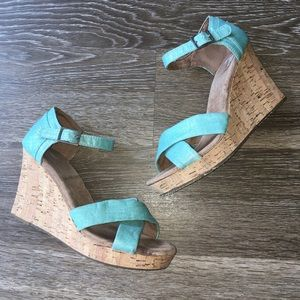 TOMs Sienna Cork Wedges Blue Size 9